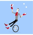 Mime winter preformance on unicycle vector image
