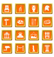 museum icons set orange vector image vector image