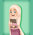 muslim girl holding book vector image vector image