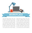 office workplace laptop and organizer tea cup and vector image