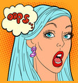oops pop art woman vector image vector image