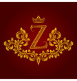 Patterned golden letter Z monogram in vintage vector image vector image