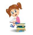 portrait of cute brunette girl reading book vector image