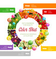 rainbow color diet vitamins benefits in food vector image