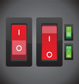 red and green on off switch button vector image