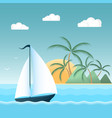 Sail boat on the waves tropical island with palm