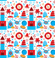 seamless pattern with sea icons on white vector image vector image
