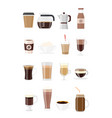 set of coffee drinks vector image