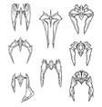 set of hand drawn cartoon alien space ships