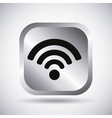 Silver wifi button design vector image