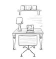 Sketch interior comfortable workplace vector image