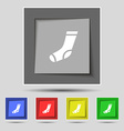 socks icon sign on original five colored buttons vector image vector image