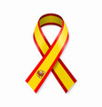 spanish flag stripe ribbon on white background vector image