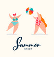 summer card curvy women playing beach sports vector image vector image