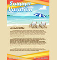summer vacation with sand beach poster banner vector image vector image
