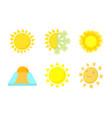sun icon set cartoon style vector image