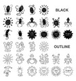 types of funny microbes black icons in set vector image