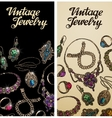 Vintage jewelry Precious metal gold silver and vector image
