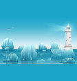winter landscape of lighthouse in the ice vector image