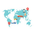 world map with cargo delivery route - global vector image vector image