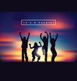 young happy active people silhouettes and sunset vector image vector image