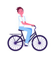 young man riding blue bike icon vector image vector image