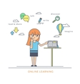 Young redhair girl using a tablet pc and reading vector image vector image
