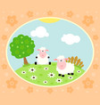 farm background with funny sheep vector image