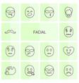 14 facial icons vector image vector image