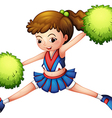 A cheerdancer with a green ponytail and green vector image vector image