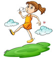 A girl walking in the air vector image vector image
