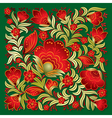 abstract red floral ornament on a green background vector image vector image