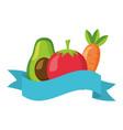 avocado tomato carrot healthy food ribbon vector image vector image