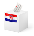 Ballot box with voting paper Croatia vector image vector image
