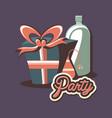 birthday gift box and bottle beverage retro hat vector image