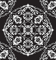 Black and white round floral border corner vector image vector image