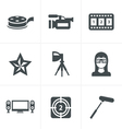black movie icon set on gray vector image