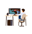 boy playing computer game at home child player vector image
