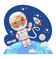 cartoon astronaut in outer space vector image