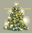 christmas decorated tree with golden baubles vector image
