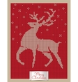 Christmas greeting card with knitted reindeer vector image
