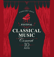 classic music poster with grand piano and curtains vector image vector image