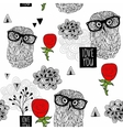Clever owls seamless pattern on white background vector image vector image