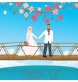 Couple holding hand in bridge woman wearing scarf