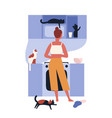 crazy cat lady standing in kitchen full of her vector image vector image