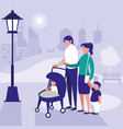 cute family in park scene natural vector image vector image
