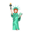 cute girl in costume statue of liberty vector image vector image