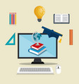 desktop computer with easy e-learning vector image vector image