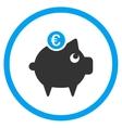 Euro Piggy Bank Circled Icon vector image vector image