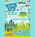 fishing adventure fisher catch fish at lake vector image vector image